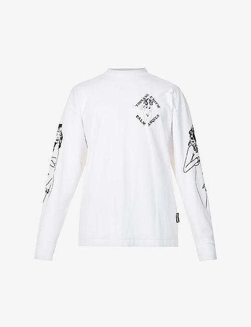 PALM ANGELS: Exotic Club graphic-print cotton-jersey top