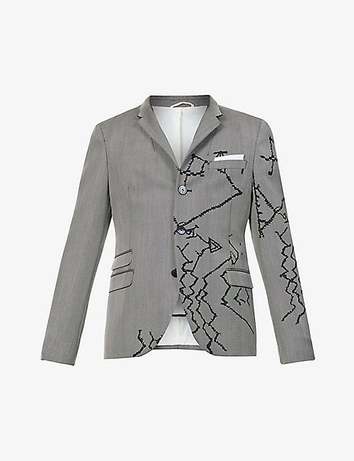 NEIL BARRETT: Berber graphic-print slim-fit woven blazer