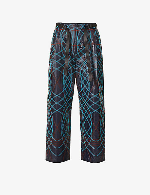 CRAIG GREEN: Graphic-embroidered relaxed-fit tapered shell trousers