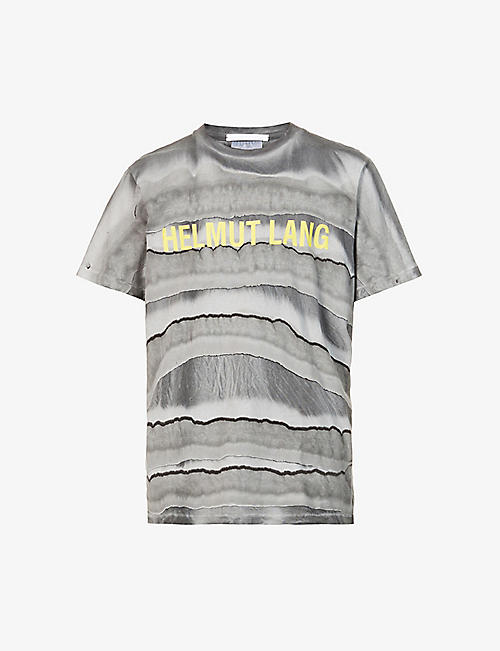 HELMUT LANG: Graphic-print crewneck cotton-jersey T-shirt
