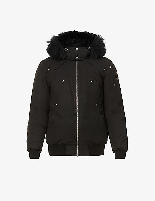 MOOSE KNUCKLES: Faux shearling-trim cotton-blend down bomber jacket