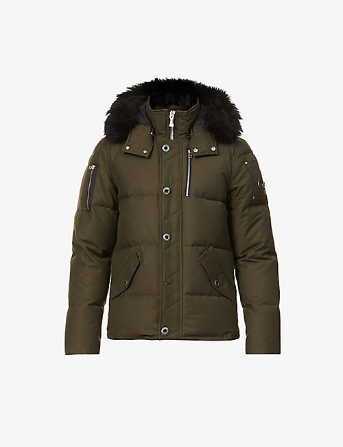 MOOSE KNUCKLES: Padded hooded cotton-blend down jacket