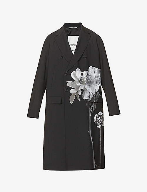 VALENTINO: Graphic-print wool and mohair-blend coat