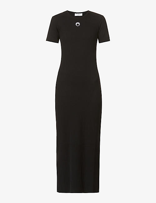 MARINE SERRE: Cocoon stretch-organic cotton maxi dress