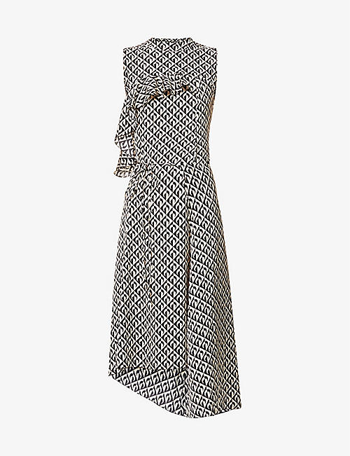 MARINE SERRE: Moon-print stretch-woven midi dress