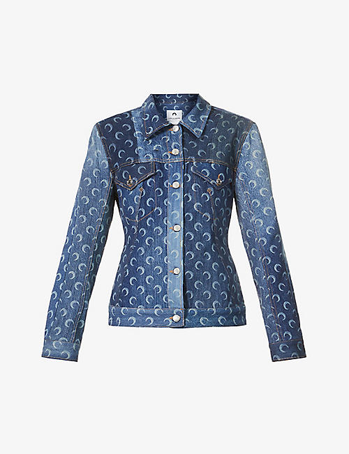 MARINE SERRE: Moon-print upcycled denim jacket