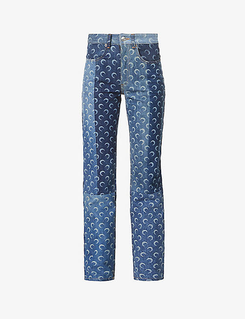 MARINE SERRE: Moon-print straight high-rise upcycled-denim jeans