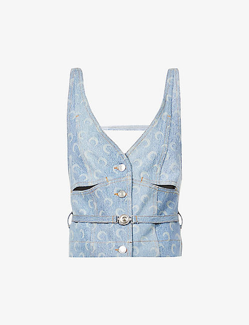 MARINE SERRE: Moon-print recycled denim top