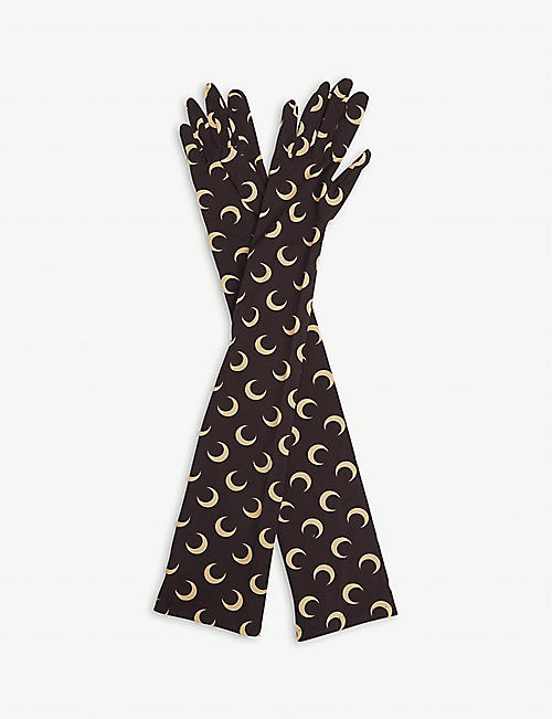 MARINE SERRE: Moon-print elbow-length stretch-woven gloves