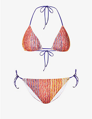 MISSONI: Solid stripe-print bikini set