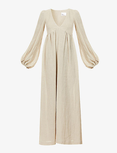 LISA MARIE FERNANDEZ: Carolyn puffed-sleeve organic linen-blend midi dress