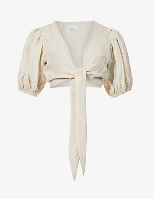 LISA MARIE FERNANDEZ: Pouf tie-up linen-blend top