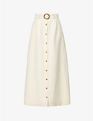 LISA MARIE FERNANDEZ: Belted high-waisted linen midi skirt
