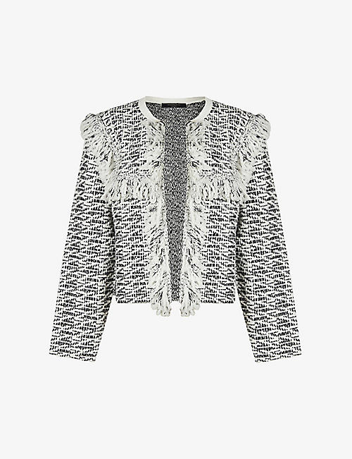 ALLSAINTS: Ashley tasselled tweed jacket