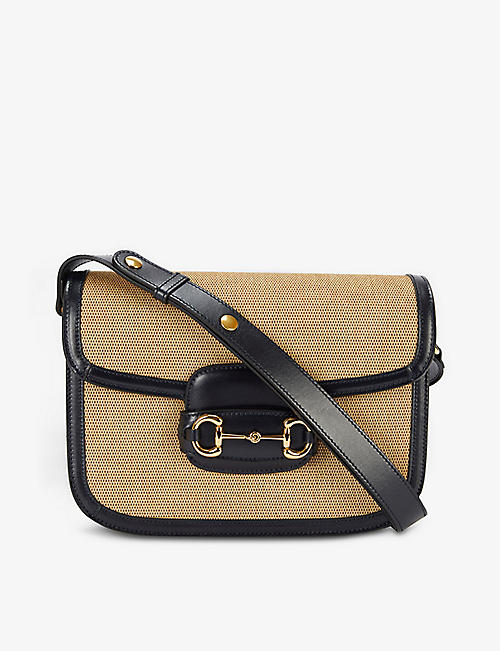 GUCCI: Horsebit 1955 canvas and leather shoulder bag