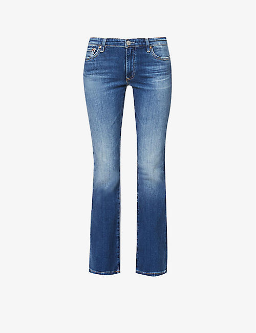 AG: Faded mid-rise cotton-blend denim jeans
