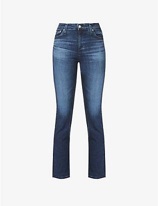 AG: Mari straight-leg high-rise stretch-denim jeans