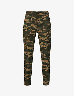 AG: Caden Fatigue camouflage-print tapered mid-rise cotton-blend trousers