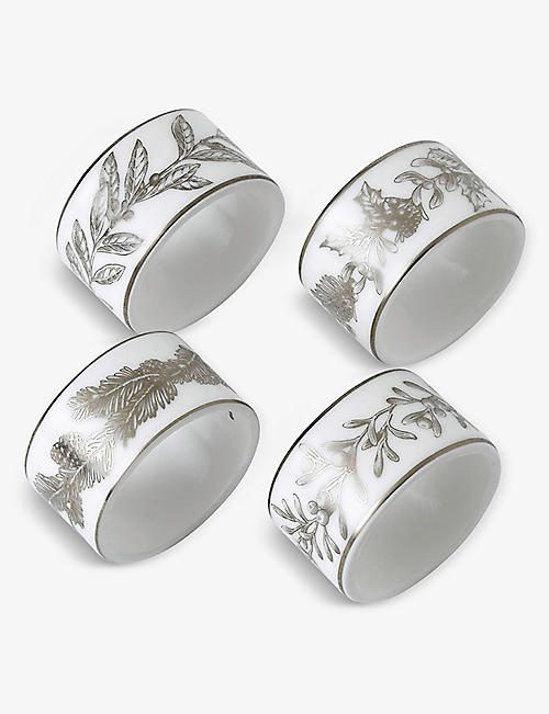 WEDGWOOD: Winter White porcelain napkin rings set of 4