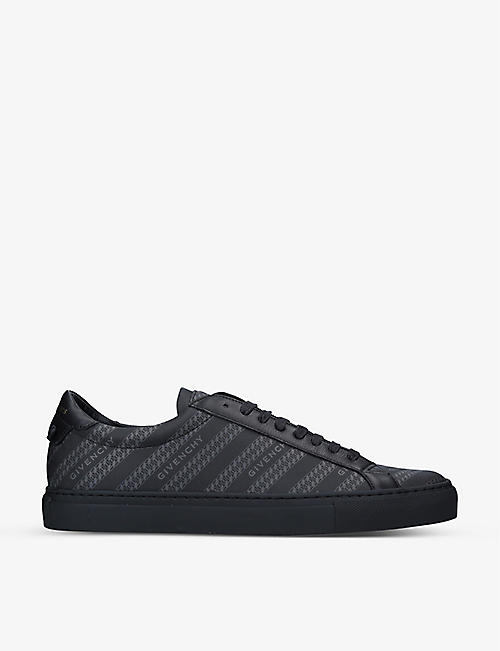 GIVENCHY: Knot chain-print leather and woven trainers