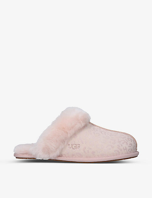 UGG: Scuffette II leopard-print suede and sheepskin slippers