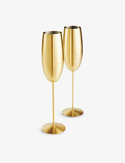 VONSHEF: Brushed-gold stainless steel champagne glasses set of two