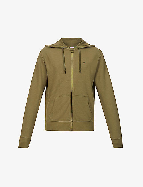 TOMMY HILFIGER: Logo-embroidered organic-cotton hoody