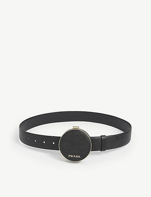 PRADA: Logo-adorned leather belt bag