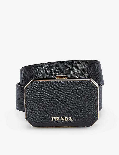PRADA: Octagon logo-adorned leather belt bag