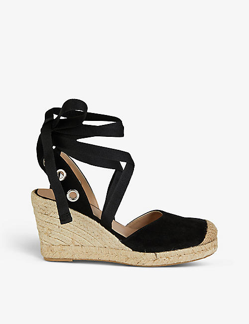 CLAUDIE PIERLOT: Amande suede leather espadrille wedges