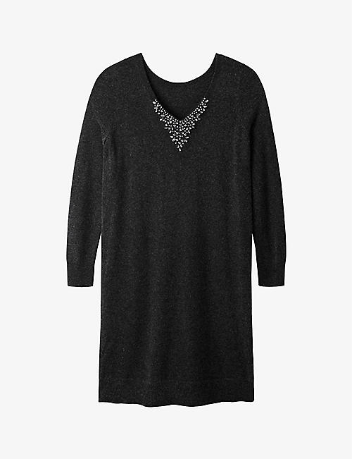 THE WHITE COMPANY: Embellished V-back knitted dress