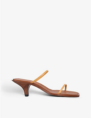 NEOUS: Vulpe square-toe leather heeled sandals
