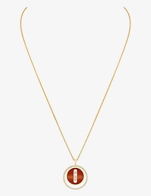 MESSIKA: Lucky Move 18ct yellow-gold, 0.3ct diamond and carnelian necklace