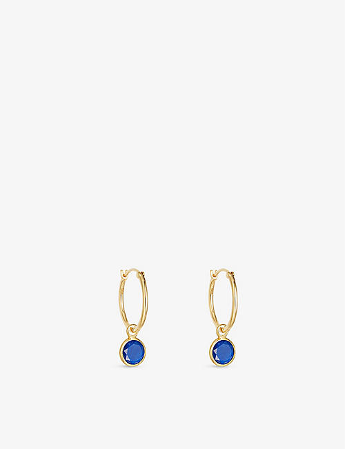 ASTLEY CLARKE: Stilla 18ct yellow gold-plated vermeil sterling silver and lapis lazuli hoop earrings