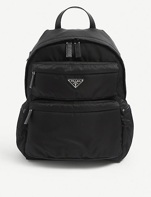 PRADA: Brand-plaque zipped nylon backpack