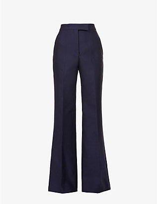 GABRIELA HEARST: Chavela flared high-rise recycled wool-blend trousers