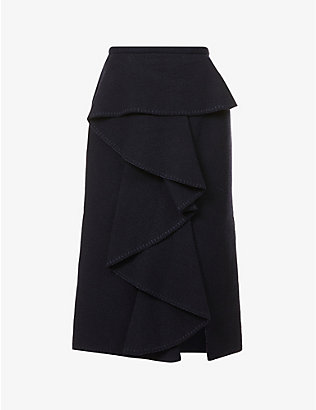 GABRIELA HEARST: Elsa ruffled high-waist recycled-cashmere midi skirt