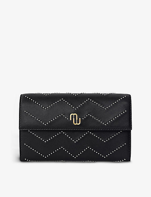 MAJE: Studded quilted-leather wallet on chain