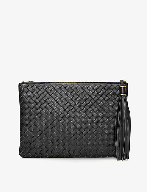 THE WHITE COMPANY: Woven leather clutch bag