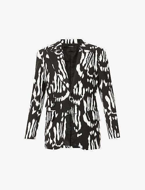 TOM FORD: Graphic-print slim-fit woven drill blazer