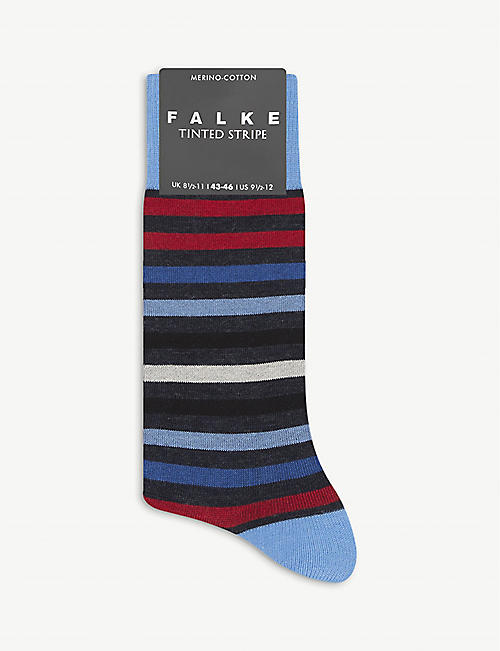 FALKE: Striped wool-blend socks