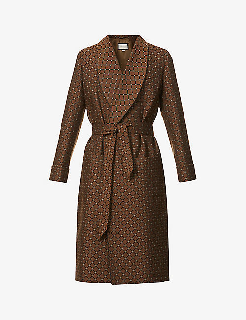GUCCI: Geometric-print belted woven coat