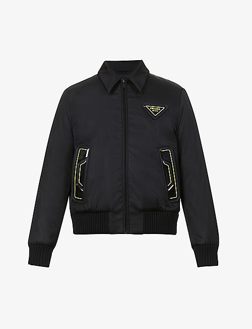 PRADA: Logo-plaque recycled-nylon jacket