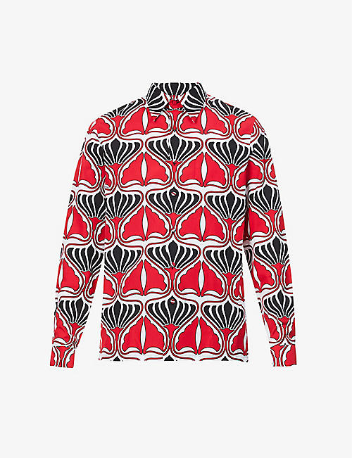 PRADA: Graphic-print regular-fit cotton shirt