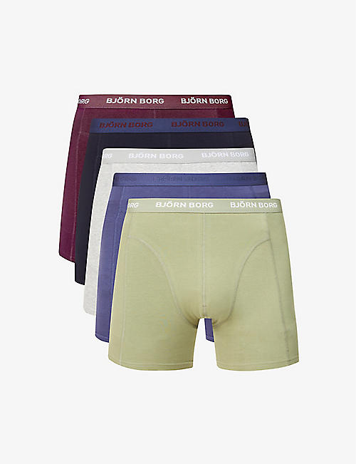 BJORN BORG: Sammy stretch-cotton trunks pack of five