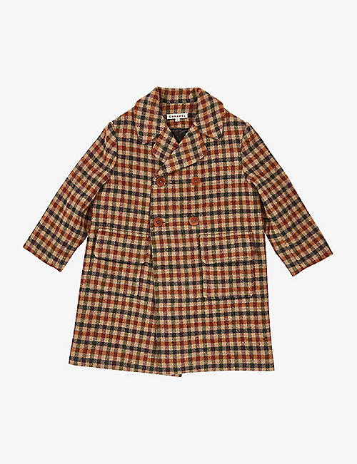 CARAMEL: Eagle houndstooth-print wool coat 3-10 years