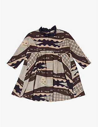 CARAMEL: Puffin graphic-print silk dress 3-12 years