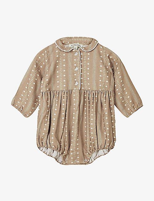 CARAMEL: Wryneck dot-patterned woven romper 3-24 months
