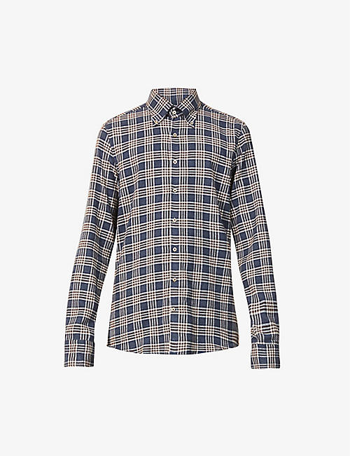STENSTROMS: Checked-pattern slim-fit cotton shirt