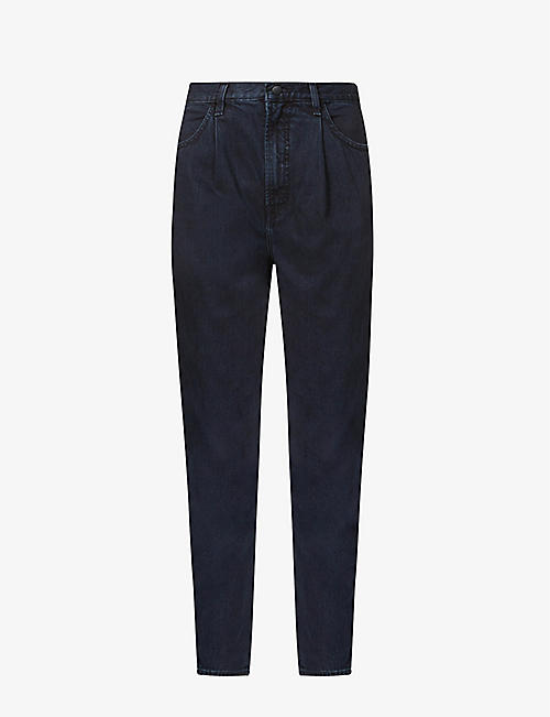 J BRAND: Pleat-front tapered high-rise stretch-denim jeans